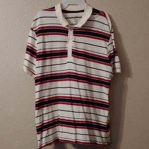 Red white and black striped polo